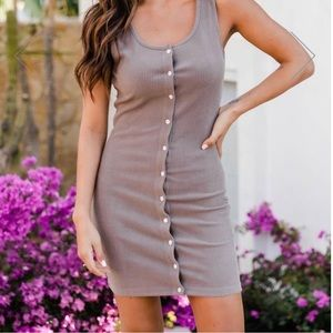 Pink Lily- Forget The Rules Button Down Tank Dress